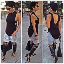 Summer Women Tank Tops HOT Casual Sleeveless O-Neck Backless Solid Loose Size S-XL