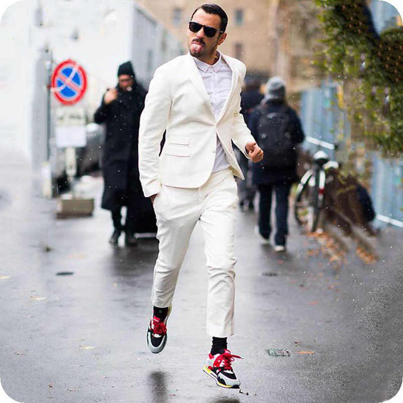 ブラウン/グリーン/ピンクリネンスーツパンツスリムフィット新郎タキシード最新コートパンツデザイン男性ブレザージャケット 2 ピース Ternos