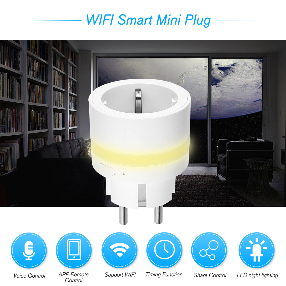 Smart WIFI Plug With LED Night Lighting WIFI Connection Phone APP Remote Control Real Time Power Consumption Measurement