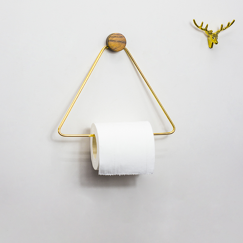 Toilet Paper Holder Triangle Roll Shelf Tissue Storage Rack Wood Copper Combination Kitchen Towel Rack Tissue  Bathroom Storage
