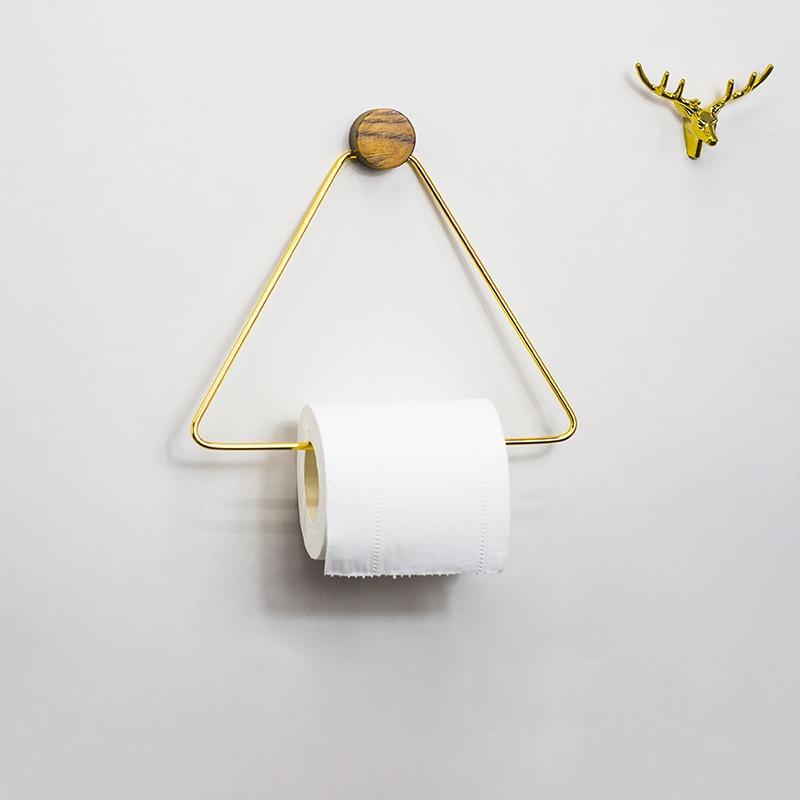Toilet Paper Holder Triangle Roll Shelf Tissue Storage Rack Wood Copper Combination Kitchen Towel Rack Tissue  Bathroom Storage