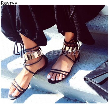Ankle lace up women's sandals golden metal decor ankle strap flats cover heel female beach shoes summer fashion casual shoe