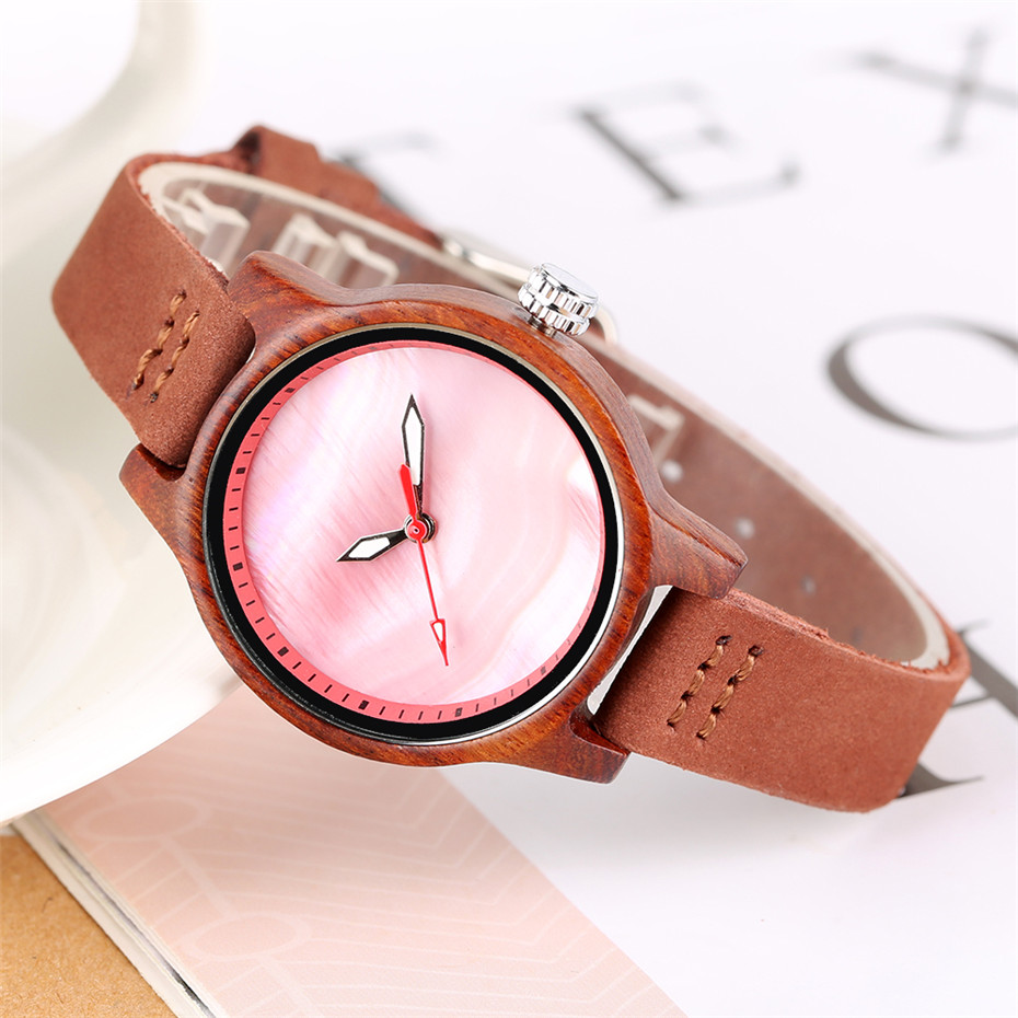Novel Wood Watch Women Quartz Genuine Leather Wristwatches Fashion Pure Color Dial Casual Ultra-light Wooden Clock Female Reloj