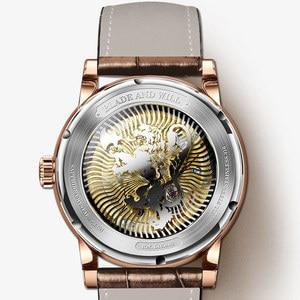 Image 5 - LOBINNI 남자 시계 럭셔리 브랜드 달 단계 자동 기계 남자 Wirstwatches 사파이어 가죽 세계 시간 relogio 시계 L16003 2