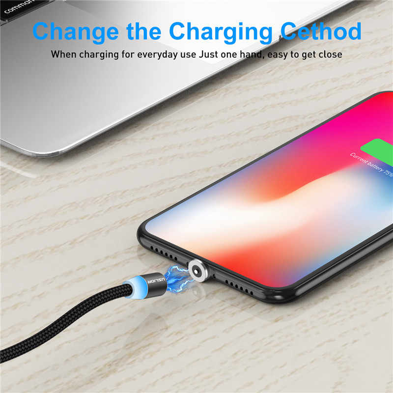 USLION Magnetic Micro USB Cable For Samsung S10 S9 Type-c Charging Charge For iPhone XS XR 8 7 Magnet Charger USB Type C Cables