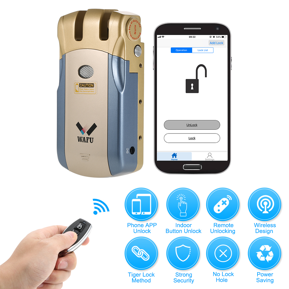 WAFU WF 018U Wireless Remote Control Lock Security Invisible Keyless Intelligent Lock Smart Door Lock iOS