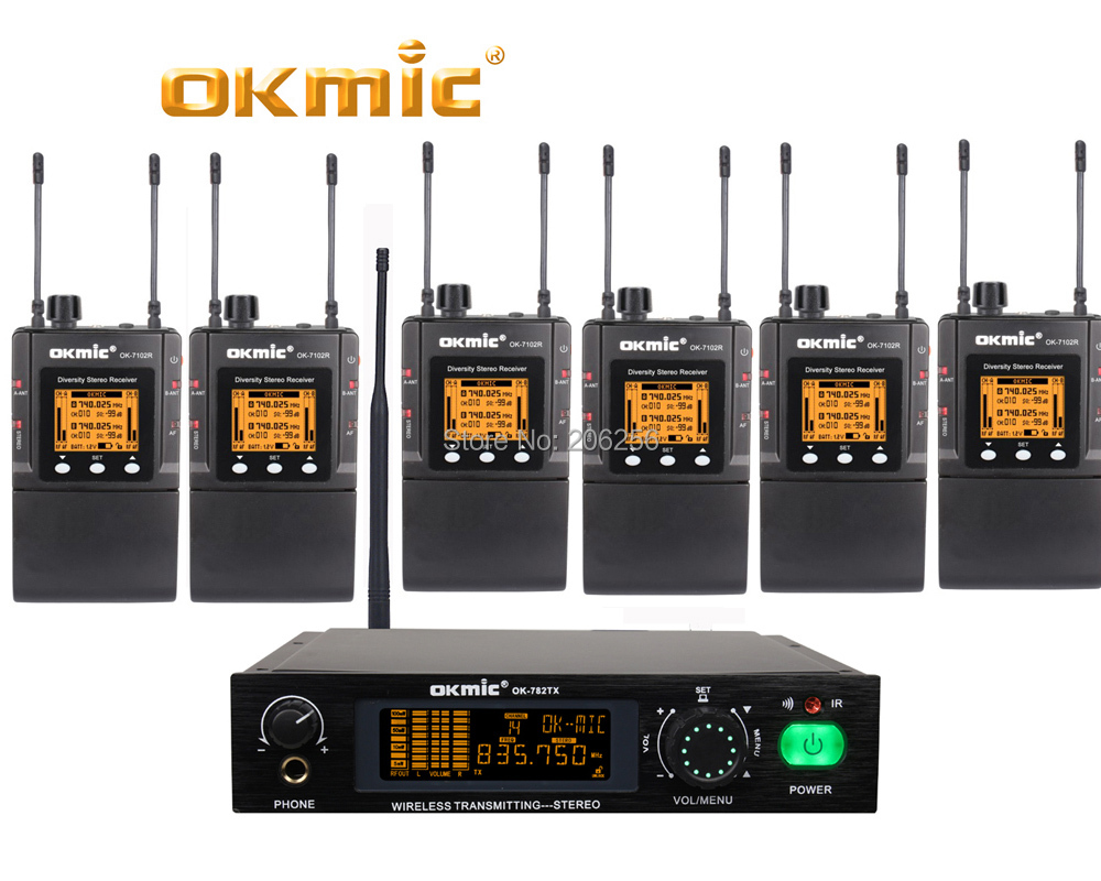 professional okmic 782tx 7102r 6 persons use stage on performance stereo desktop in ear monitor. Black Bedroom Furniture Sets. Home Design Ideas
