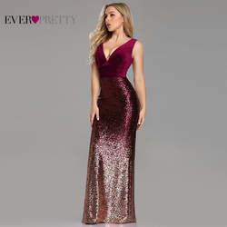 Халат De Soiree Ever Pretty EZ07767 новый сексуальный v-образный вырез Русалка без рукавов бордовые длинные элегантные вечерние платья Abendkleider 2019