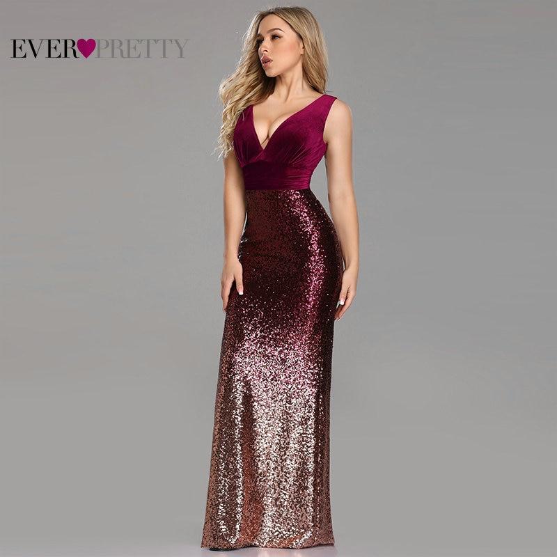 Robe De soirée Ever Pretty EZ07767 nouveau Sexy col en v sans manches sirène bordeaux longues robes De soirée élégant Abendkleider 2019