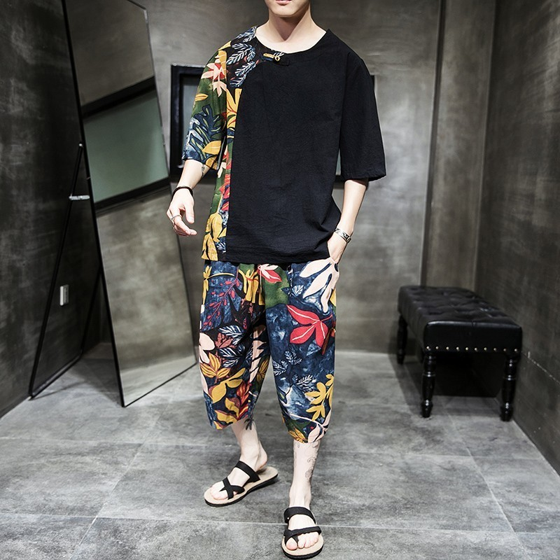 Fashion Tracksuit Mens Personality Print Track Suit Two Pieces Causal Chinese Style Hip Hop Set Men Short Sleeve T-shirt + Pant
