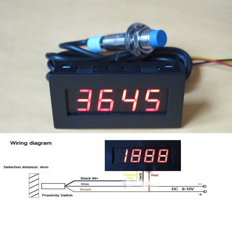 Digital LED Punch Tachometer RPM Speed Meter 5-9999RPM Tacho Gauge + Hall Proximity Switch Sensor 12V 8-15v  Red