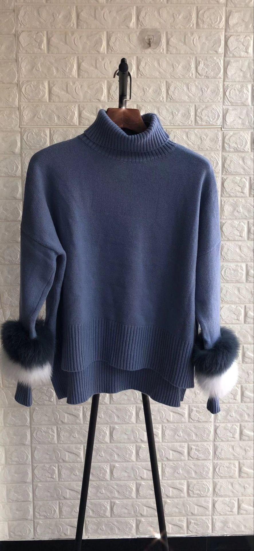 Pulls Élégant Chandail Fourrure bleu gris Pullover Couleurs Femelle Frappé Col Manteau Asymétrique Patchwork Beige Roulé Femmes Peluche pxUHqnIH