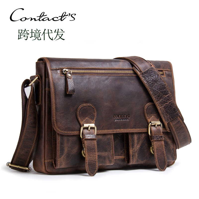 Black Angel Factory Supply Vintage Crazy Horse Leather Men's Shoulder Crossbody Bag Genuine Real Messenger Leather Men's Bags