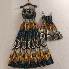 Новинка; летнее платье для мамы и дочки; платья без рукавов с цветочным принтом в стиле бохо; сарафан; Одинаковая одежда для семьи