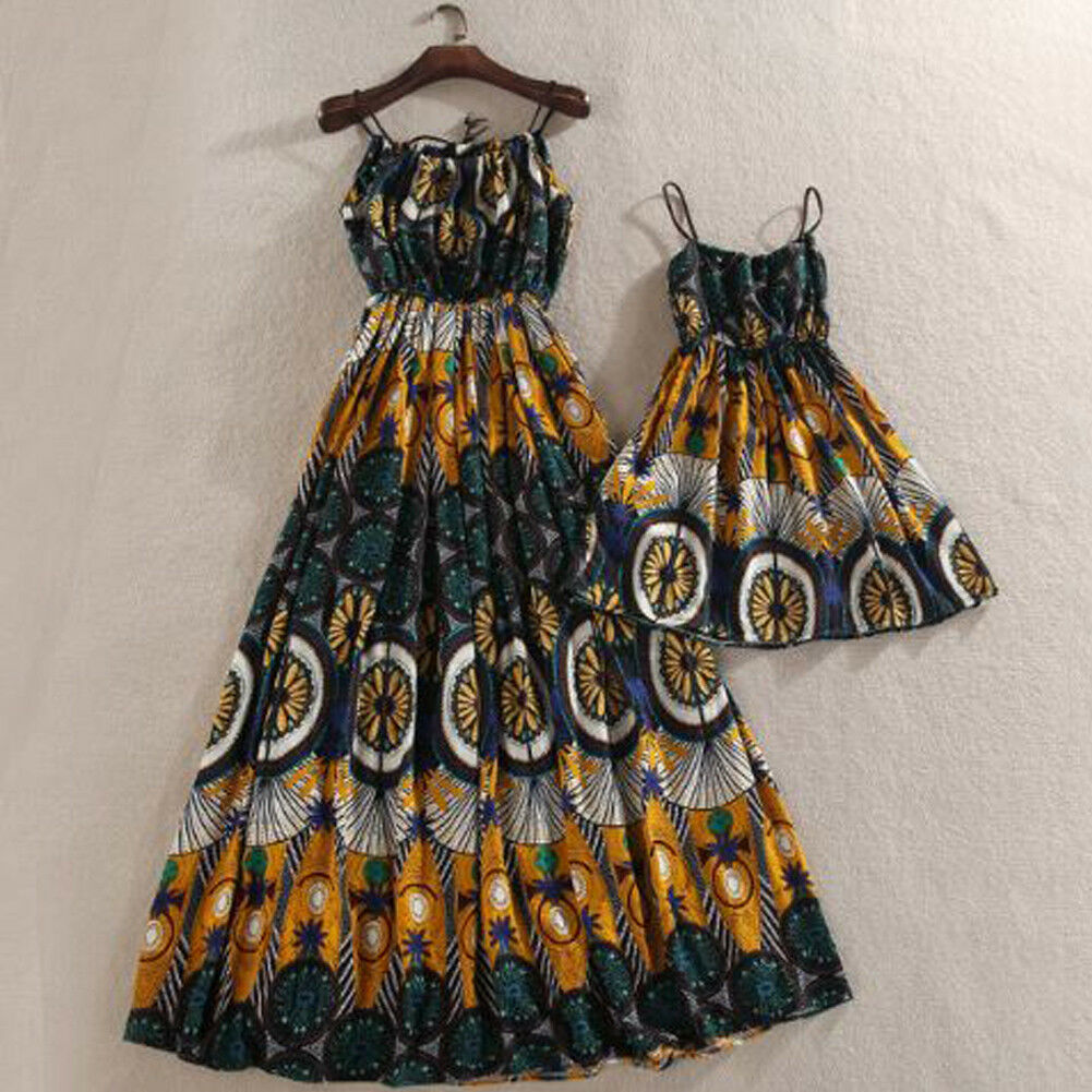 New Summer Mother And Daughter Dress Sleeveless Strap Boho Floral Dresses Sundress Family Match Clothes