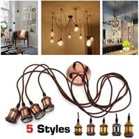 New Modern Retro Industrial Pendant E27 Ceiling Light Lamp Cluster 4pcs Lamp Holders + 1 Suction Cup Aluminum Alloy