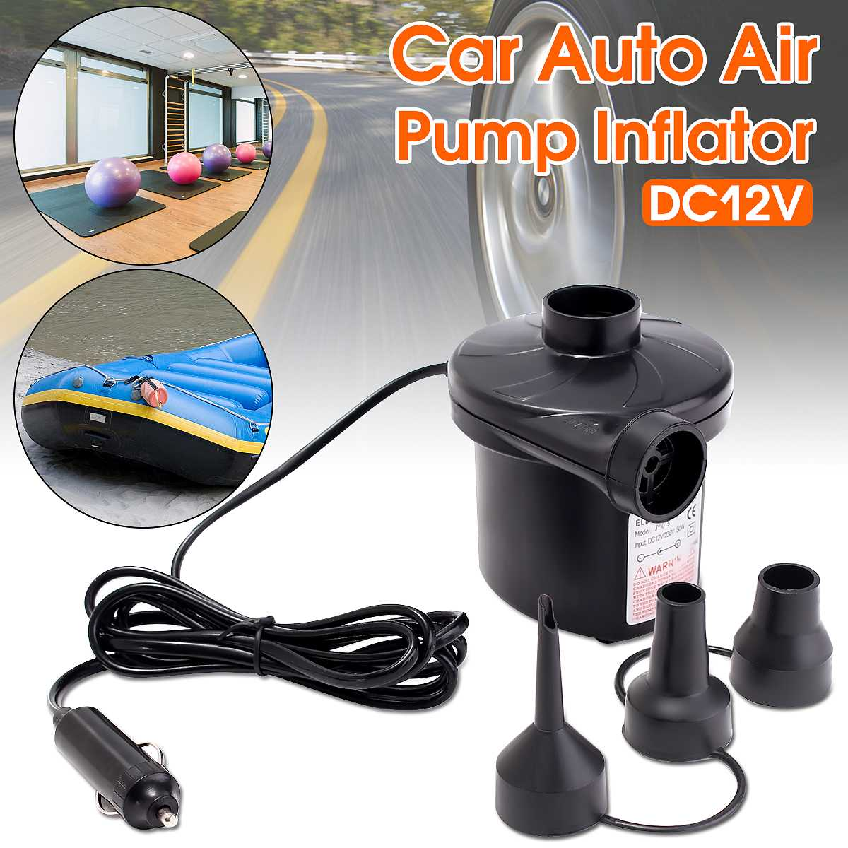 2 in 1 Electric Air Pump Inflator Inflatables Camping Bed Pool 240V 12V UK Plug