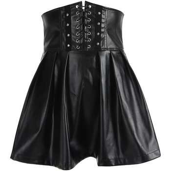 SUCHCUTE Women's Skirts Gothic Harajuku Bandage Faux Leather Korean Fashion Black Mini Pleated Skirts 2019 Summer Party Pu Saias 4