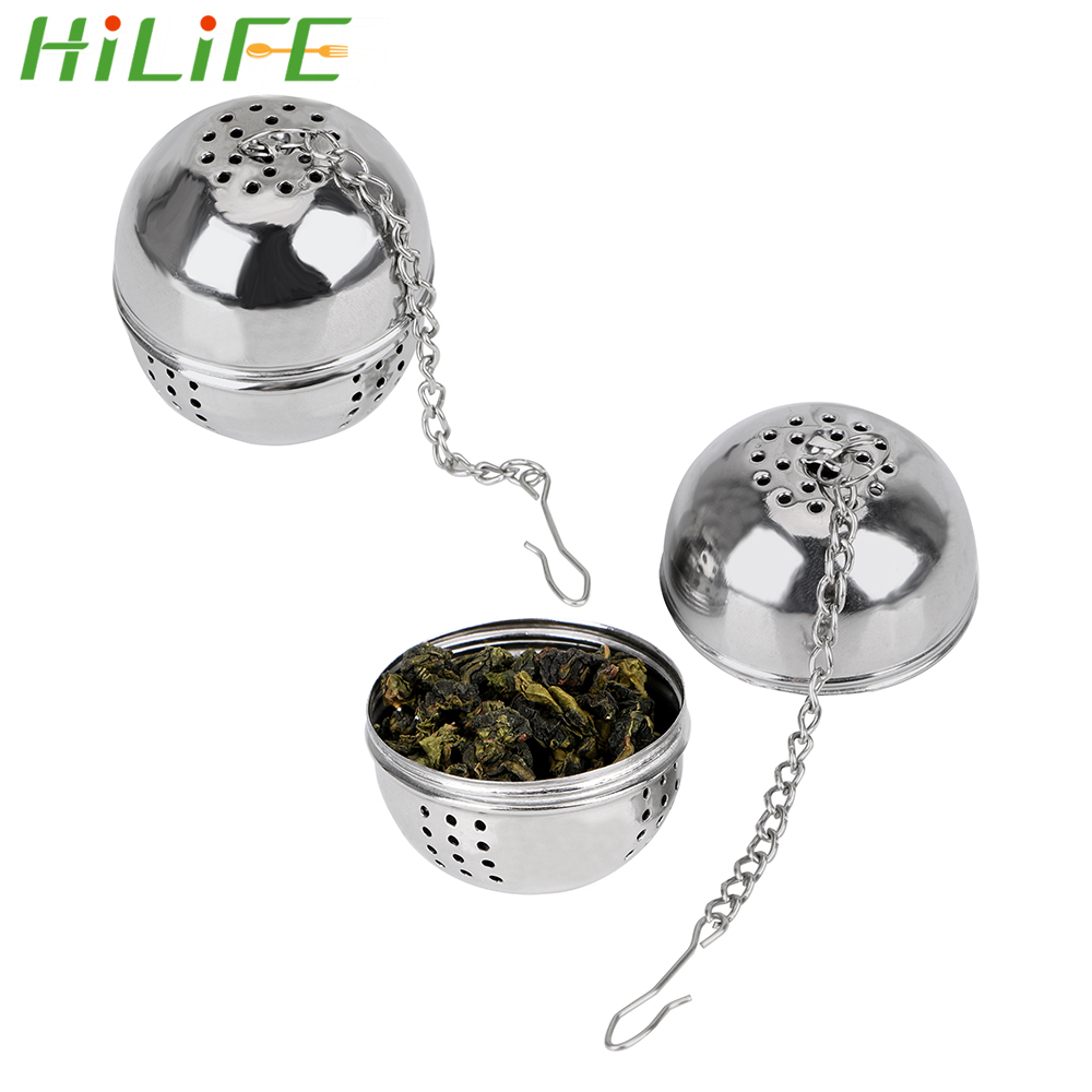 HILIFE Hangable Stainless Steel Ball Shape Tea Infuser For Loose Tea Leaf Spice Home Kitchen Accessories Mesh Filter Strainer
