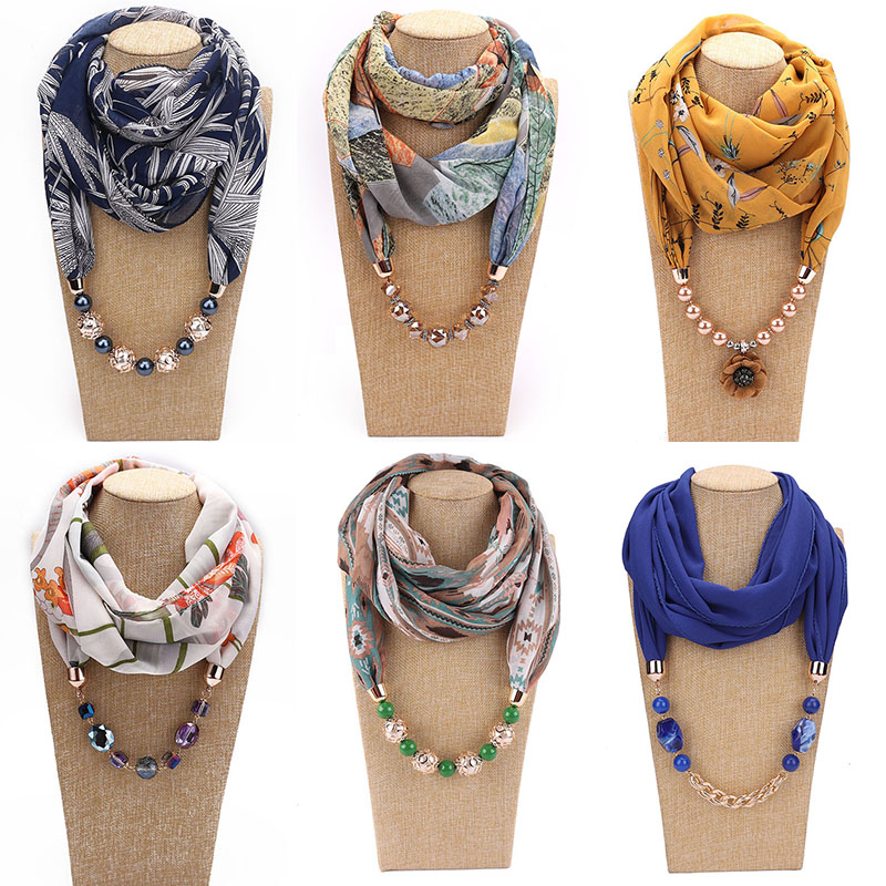 Woman's Scarf Handkerchief Chiffon Hijab Jewelry Necklace Resin Beads Pendant Scarves Bohemia Head Scarf HONGHUACI Free Shipping