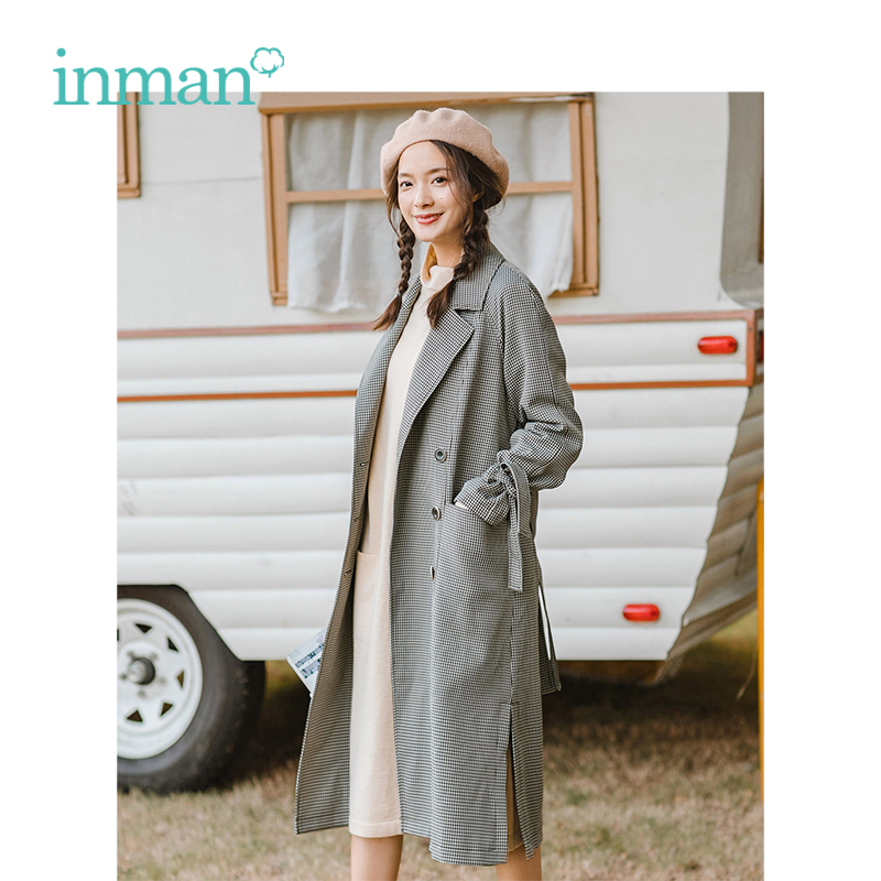INMAN 2019 Spring New Arrival Turn Down Collar Retro Plaid Slit Hem Conclude Belt Long Sleeves Casual Women Long Coat