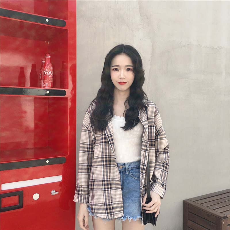 NiceMix 2019 Autumn Harajuku Blouse Women Plaid Shirts Ladies Kawaii Tops Shirt Casual One Size Female Blusas Vetement Femme in Blouses amp Shirts from Women 39 s Clothing