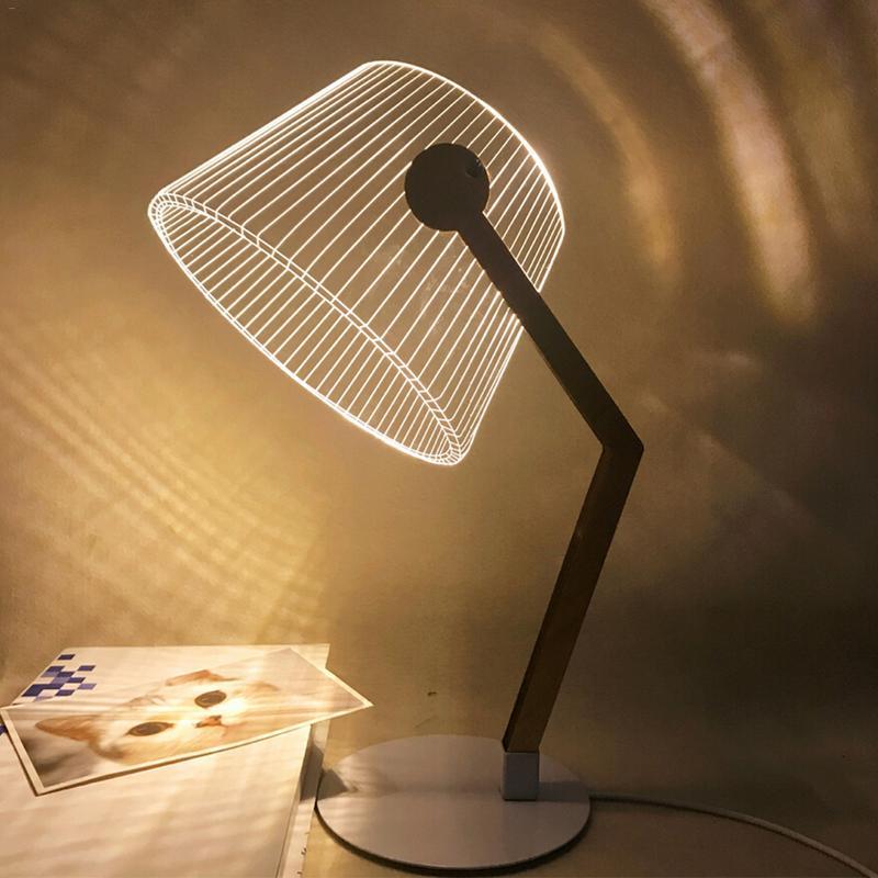 Efeito 3d visão estéreo led desk lamp suporte de madeira acrílico abajur led luz sala estar quarto lâmpada leitura com usb plug