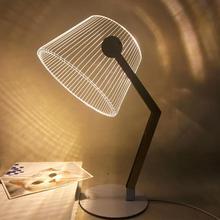 3D эффект стерео видения светодиодный настольная лампа деревянная поддержка акриловый Абажур Светодиодный светильник для гостиной спальни лампа для чтения с usb-разъемом