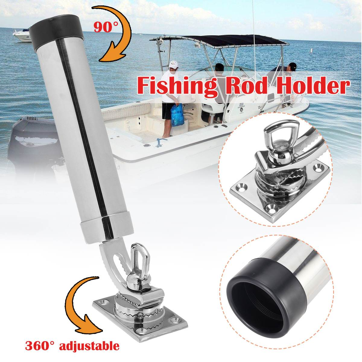 Support de canne à pêche en acier inoxydable pour bateau support amovible support de pêche réglable pour accessoires de Yacht de bateau marin