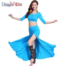 E&A 2019 New Bellydance Costume Modal Training Set Woman Belly Dance Top Skirt Belly Dance Performance Wear Competition Show Set