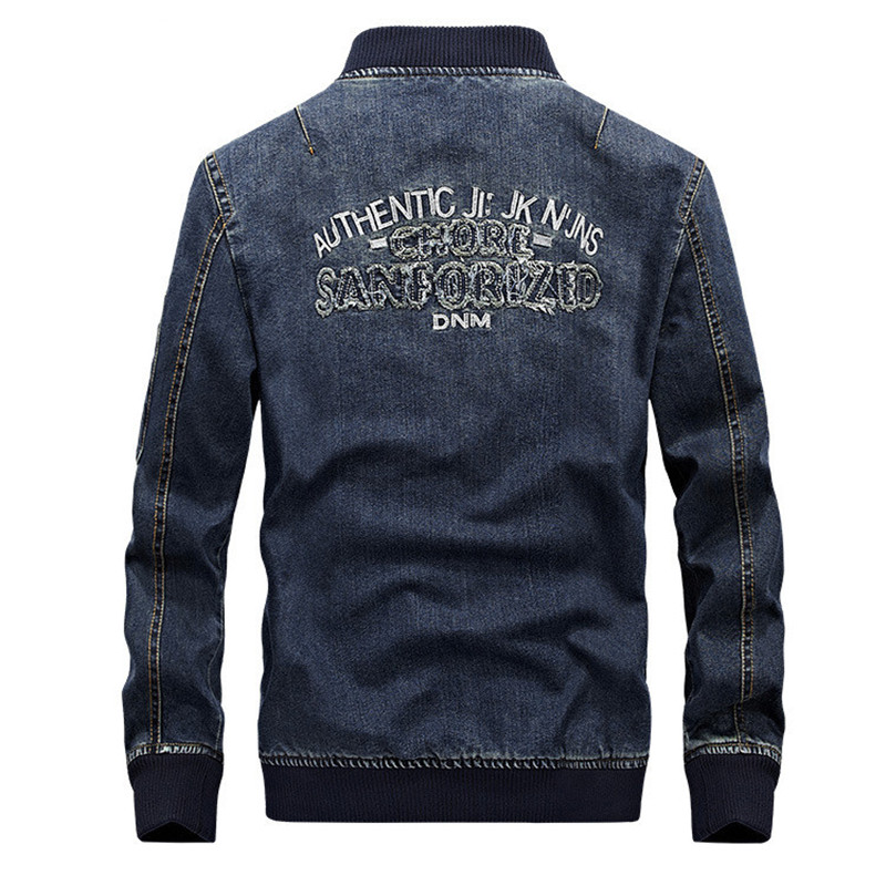 2019 Denim jacket men new fashion Autumn men jeans jacket brand overcoat bomber jacket masculina casaco masculino embroidered in Jackets from Men 39 s Clothing