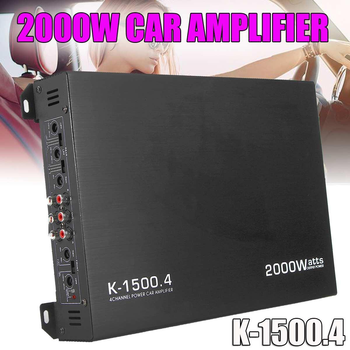 2000 Вт 4 канала Авто аудио усилители домашние мощность стерео Amp алюминий DC 12 В в автомобиля для сабвуфера