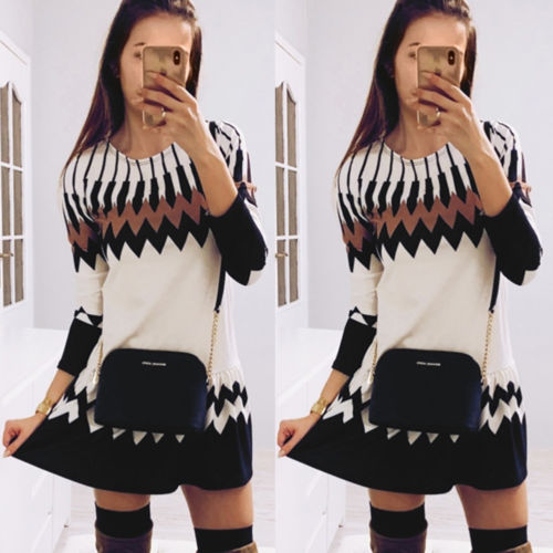 2019 New Fashion Loose Casual Swing Dress O neck Long Sleeve Floral Short Mini Dress in Dresses from Women 39 s Clothing
