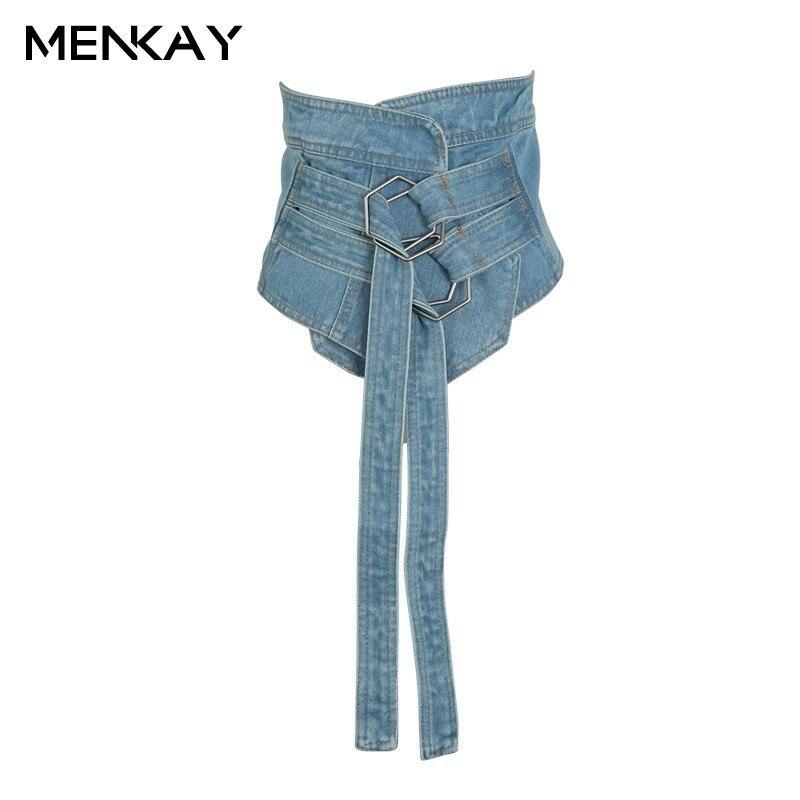 [MENKAY] 2019 jeans femmes ceinture Cummerbunds taille réglable nouvelle mode dames vêtements accessoires femme large ceintures taille