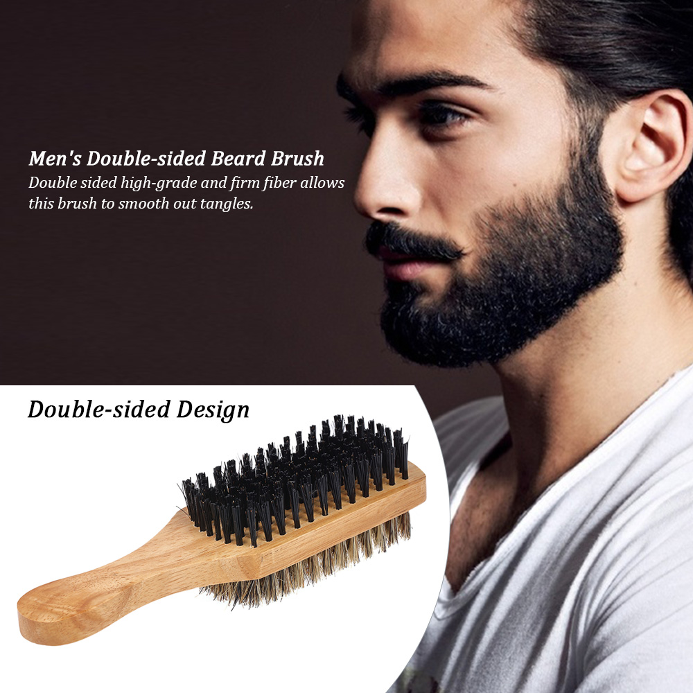 Image 4 - Men's Beard Brush Double sided Facial Hair Brush Shaving Comb Male Mustache Brush Solid Wood Handle Optional Size Shaving Brush-in Shaving Brush from Beauty & Health