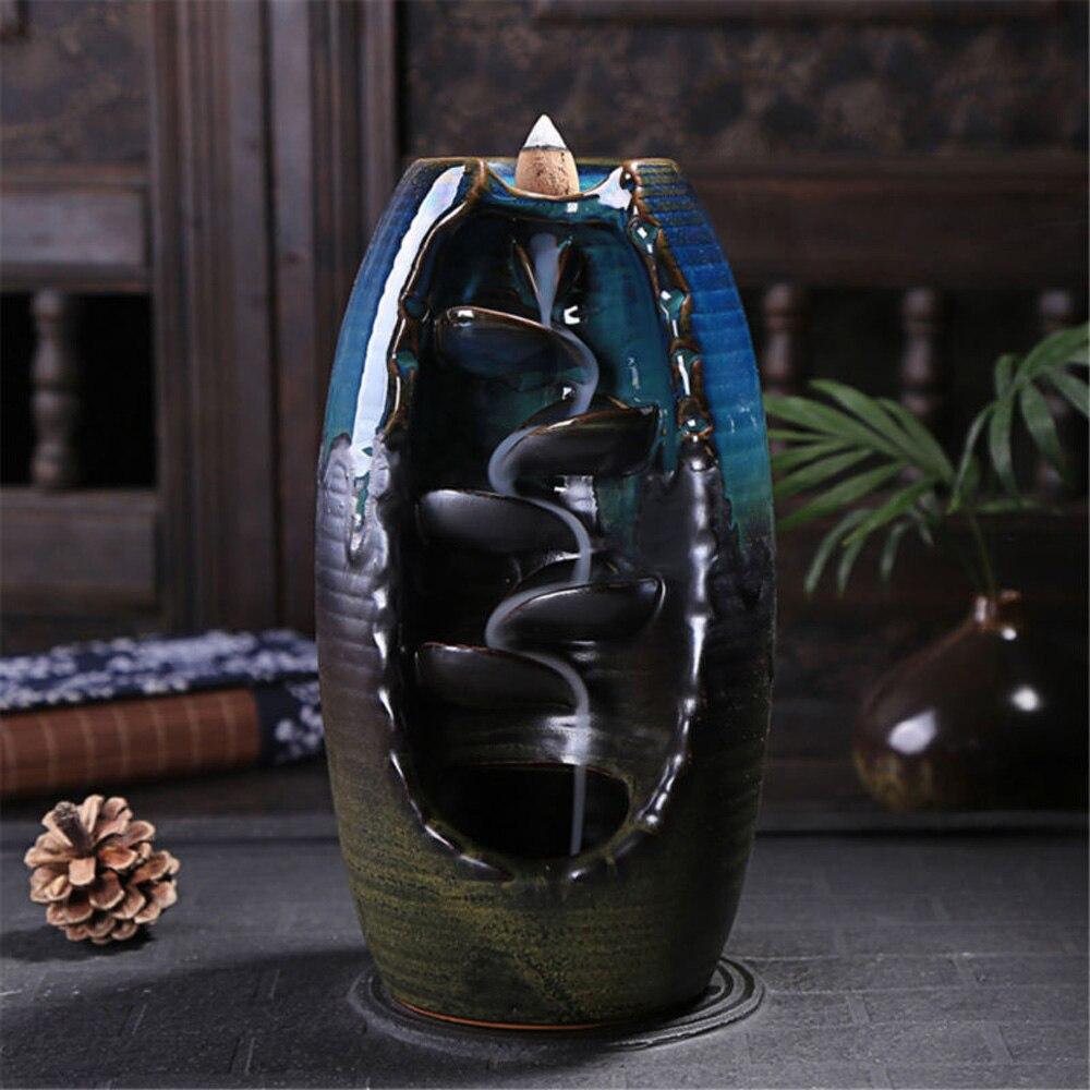 Backflow Ceramic Incense Burner Home Ornament Sandalwood Incence Burner Smoke Back flow Censer Cone Holder Blue