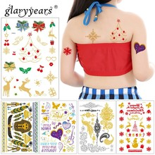 c932b1fa5 glaryyears 1 Sheet Metallic Temporary Tattoo Sticker Fake Tatoo Christmas  Flash Tatto Waterproof Small Body Art