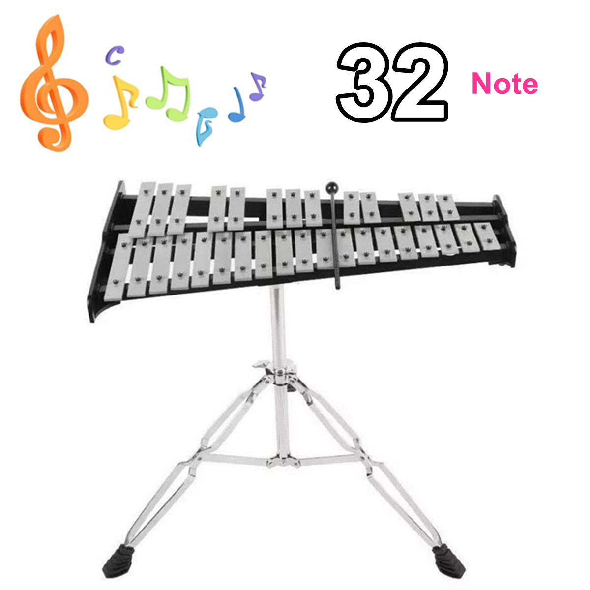 32 Note Glockenspiel Xylophone Wooden Frame Aluminum Educational Percussion Musical Instrument With Adjustable Stand32 Note Glockenspiel Xylophone Wooden Frame Aluminum Educational Percussion Musical Instrument With Adjustable Stand