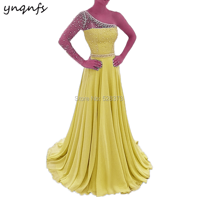 YNQNFS P31f New Elegant Chiffon Multi Color One Long Sleeve Crystal Prom  Dresses Long 2019 Yellow Formal Dress Party Gown e2add2fcdae9
