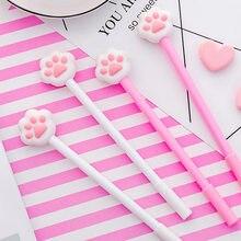 1 pc bonito gato pata rosa gel caneta assinatura caneta 0.5mm tinta preta escola material de escritório presente promocional estudantes papelaria ferramentas