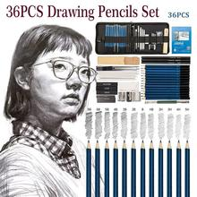 36PCS Drawing Pencils Set For Student Artists Sketching PencilsArt Drawing Tool School Painting Stationery With Sketch Paper Zip недорого