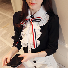 Front bow tie Women Blouses Long Sleeve Shirts Turn Down Collar Shirt Casual Feminine Irregular Autumn black Tops 812E5