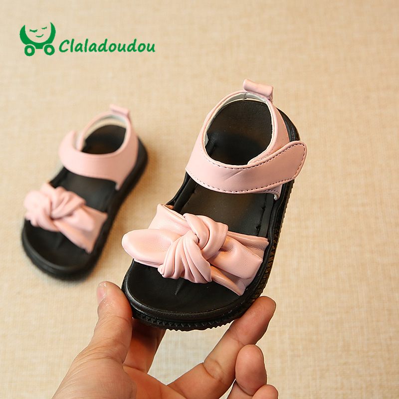 Claladoudou 0-6Y Baby Sandals Kids Girl White Knot Rubber Flat Sandals Pink Princess Casual PU Leather Fashion Beach Slippers