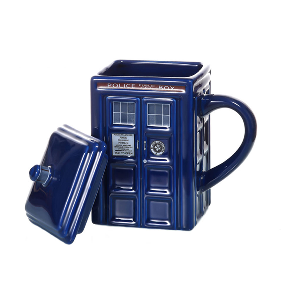 Doctor Who Tardis Police Box Ceramic Mug Cup With Lid Cover For Tea Coffee Mug Funny Creative Gift Christmas Presents Kids Men-in Mugs from Home & Garden