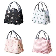Portable Lunch Box Fashion Cartoon Pattern Simple Style Waterproof Ladies Canvas Aluminum Foil Collection Bag