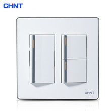 CHINT Wall Switch 120 Type NEW9E Series Three Gang Two Way Switches For Home chint lighting switches 118 type switch panel new5d steel frame four position six gang two way switch panel