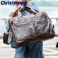 Men Leather Laptop Bag For Lenovo Dell Male Genuine Leather Shoulder Crossbody Bags Briefcase Tote Handbag For Macbook Air Case