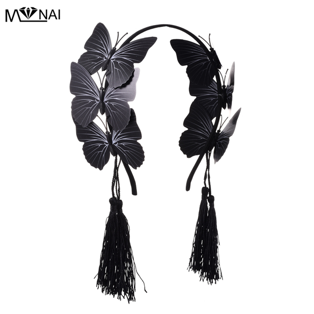 Gothic Butterflies Hairband with Tassels Fashion Steampunk Headband Accessories For Party Festival Headdress Accessories