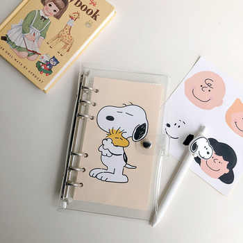 SIXONE Simple Style Rogue dog Loose Page Handbook A6 Grid Notebook Student Travel Diary stationery school supplies