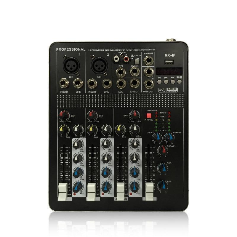 LEORY BTF4 4 Kanalen Bluetooth Audio Mixing Console Record Audio Mixer met USB DJ Controller Mixer Apparatuur Professionele